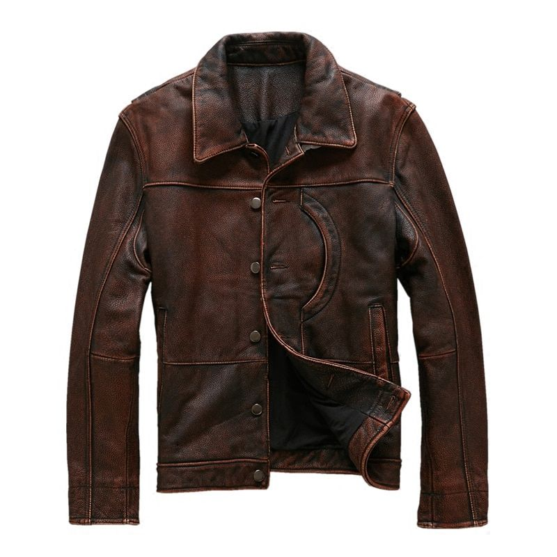 2018 Vintage Brown Men Smart Casual Leather Jacket Single Breasted Plus Size XXXL Genuine Cowhide Russian Coat FREE SHIPPING
