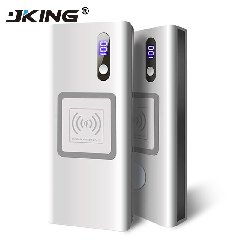 JKING 20000 mAh power bank + wireless charger with led light portable Qi wireless charging for iPhone 8 for Watch, smart phones