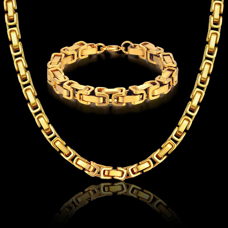 Mens Necklace Set Gold Color Necklaces & Bracelets Byzantine Male Bijoux Chunky Stainless Steel Men Linked Chain 8MM Jewelry Set