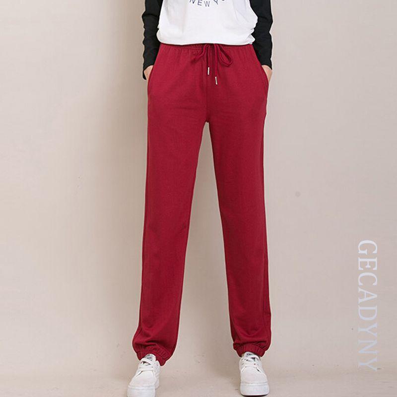 Для женщин Basics Casual Брюки для девочек свободные плюс Размеры XXXL брюки дамы Обувь для девочек одноцветное стрейч тренировочные штаны Wei Мотоб...