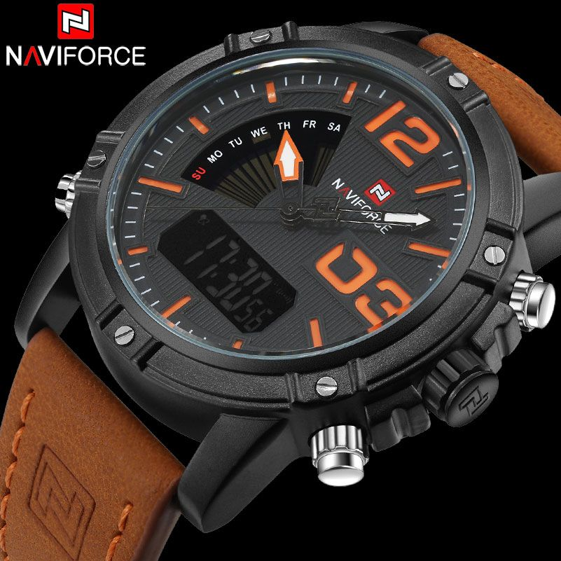 NAVIFORCE Brand Dual Display Watch Men Sport Quartz LED Watches Leather Band Analog Digital Wrist Watches 30M Waterproof Clock