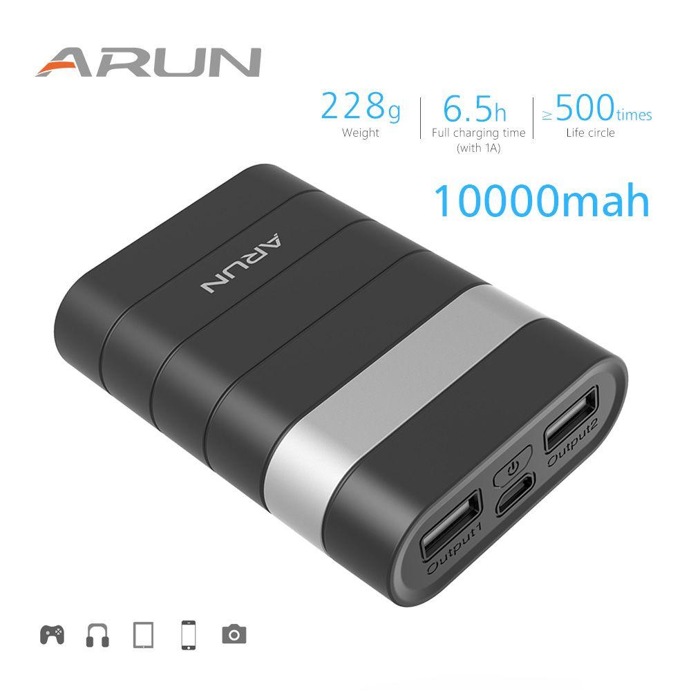ARUN Haute Sécurité 10000 mah Banque Dual Power USB Sortie 2.1A Portable Batteries De Sauvegarde Pour Samsung iPhone Xiaomi Huawei
