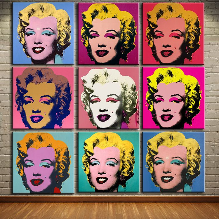 DP ARTISAN study 9pcs marilyn monroe wall art oil painting Prints Painting on canvas No frame Pictures For Living Room