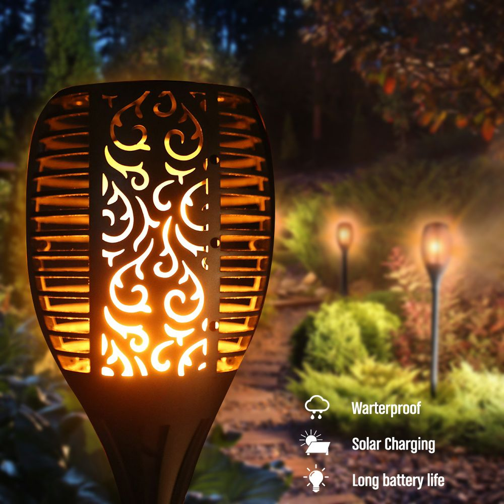 2018 New LED Solar <font><b>Promotion</b></font> Waterproof Flickering Flame Torch Light Outdoor Landscape Decoration Lighting Lamp