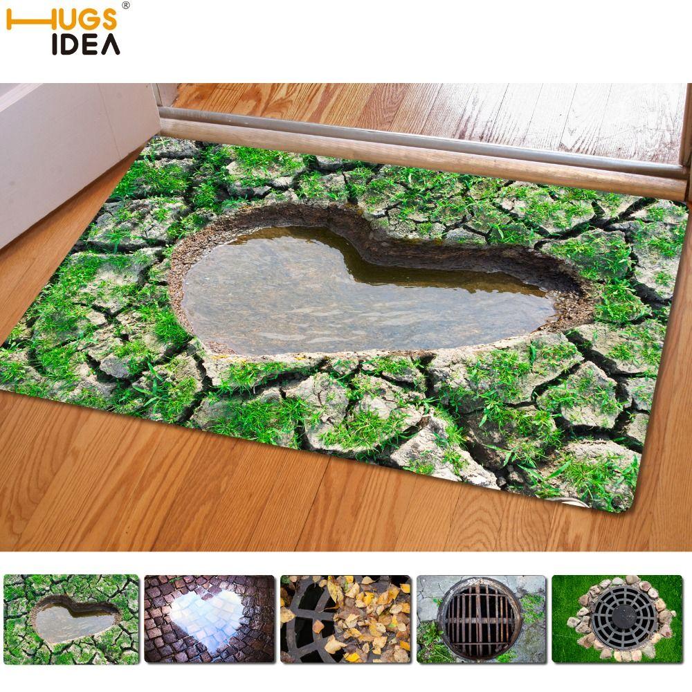 HUGSIDEA Creative Entrance Carpets Funny Rubber 3D Traps Printed Carpet for Door Floor Living Room Kitchen Bathroom Mats 40x60cm