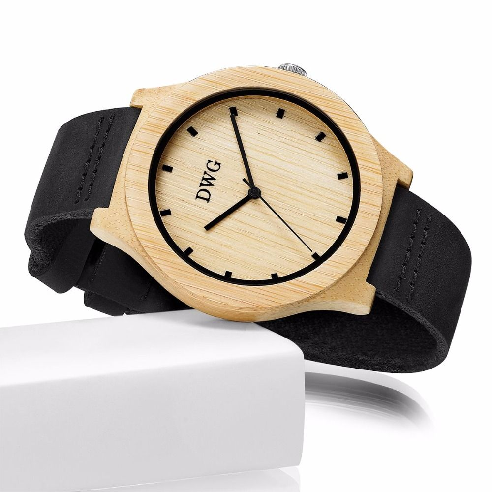 DWG Brand Wooden Watch Unique Bamboo Big Dial Quartz Watch Simple Fashion Wristwatch with Soft Black Leather Strap for Men Women
