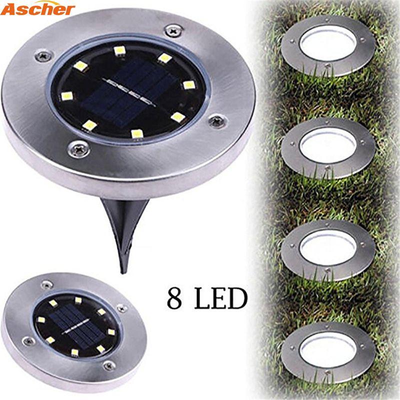 1 stücke Wasserdicht 8 LED Solar Außen Boden Lampe Landschaft Rasen Yard Treppen Unterirdischen Begraben Nachtlicht Hause Garten Dekoration