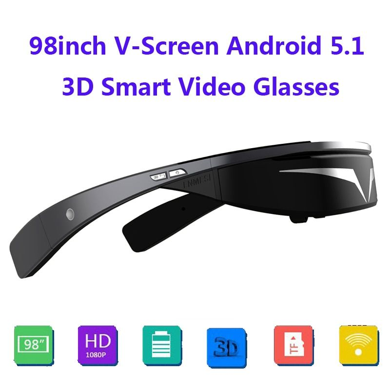Upgraded version!!Full HD 1080P 98inch V-Screen Android5.1 WiFi Touch-Button Track Ball Opera Browser 3D Smart Video Glasses