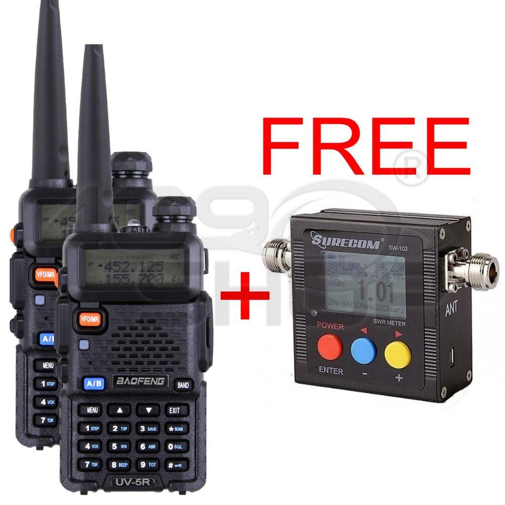 409shop 2x BAOFENG UV5R 5w FM RADIO FREE FOR + 1x SURECOM SW102 VHF/UHF Power & SWR Meter