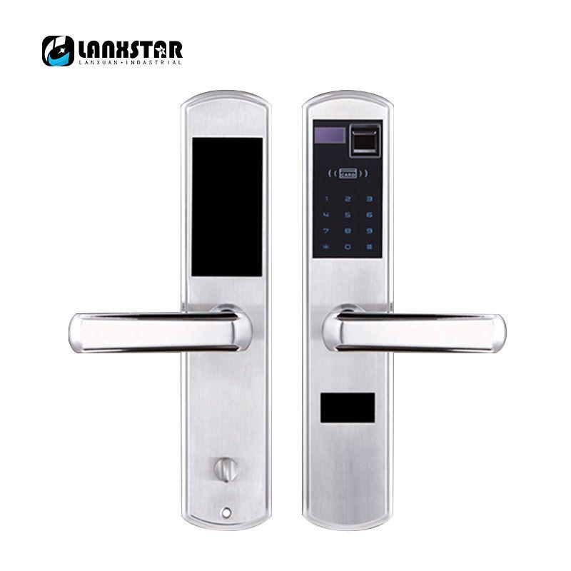LANXSTAR 304 Steel Over  Medium Type Lockbody Fingerprint Password Intelligent Card Mechanical Key Lock 5 in 1 Anti-theft Locks