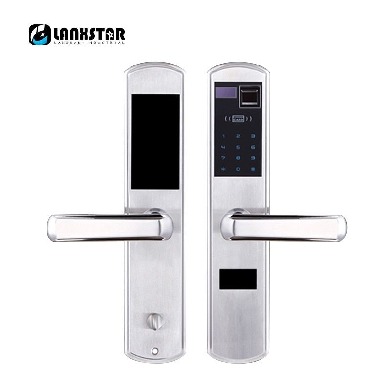 LANXSTAR 304 Steel Over Medium Type Lockbody Fingerprint Password Intelligent Card Mechanical Key Lock 5 in 1 Anti-theft Locks