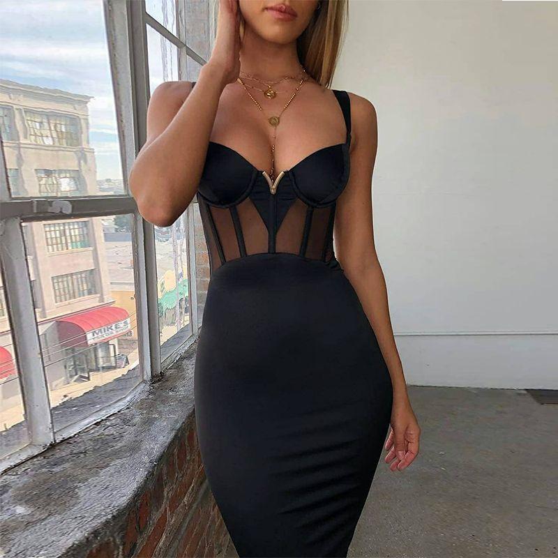 Ocstrade été Sexy rayonne Bandage robe 2019 nouveaux arrivants maille insérer femmes Bandage robe noir soirée boîte de nuit moulante robe