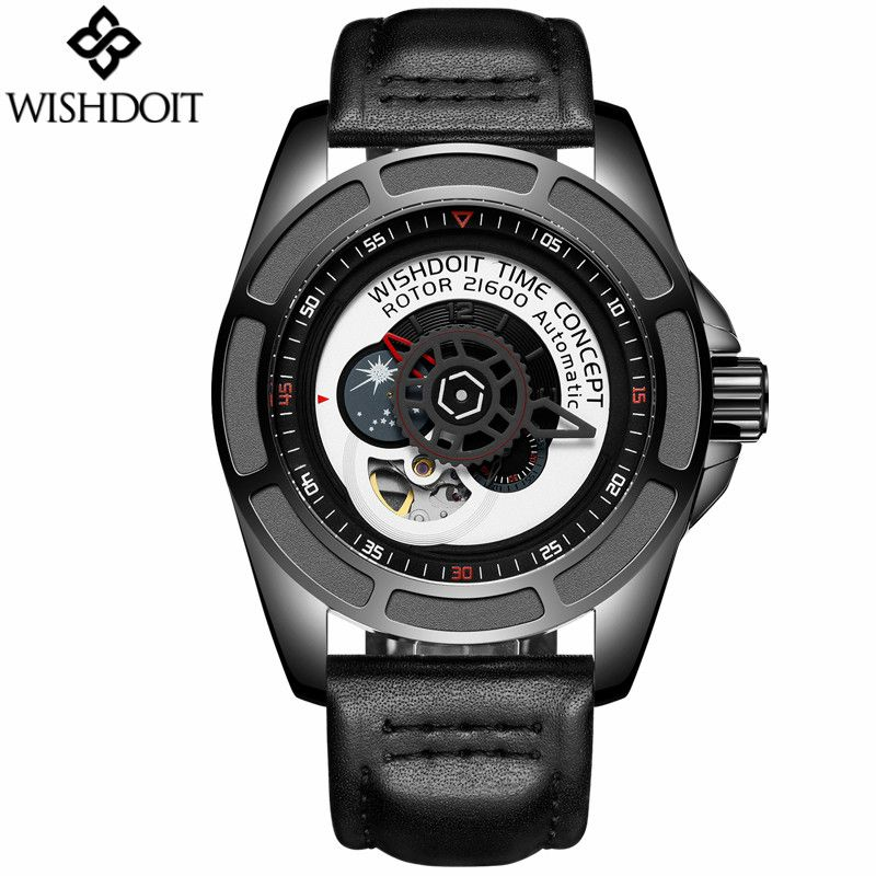 2017 Men Skeleton Tourbillon Moon Phase Automatic Mechanical Leather Watch Fashion Gear dial Men's Watches Rotary Table Clock