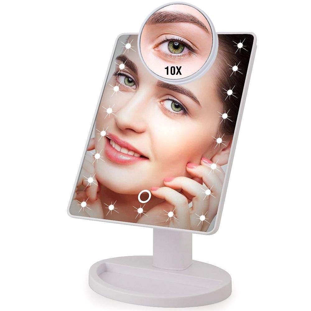 22 LED Lights Touch Screen Makeup Mirror 1X 10X <font><b>Table</b></font> Desktop Countertop Bright Adjustable USB Cable Or Batteries Use 16 Lights