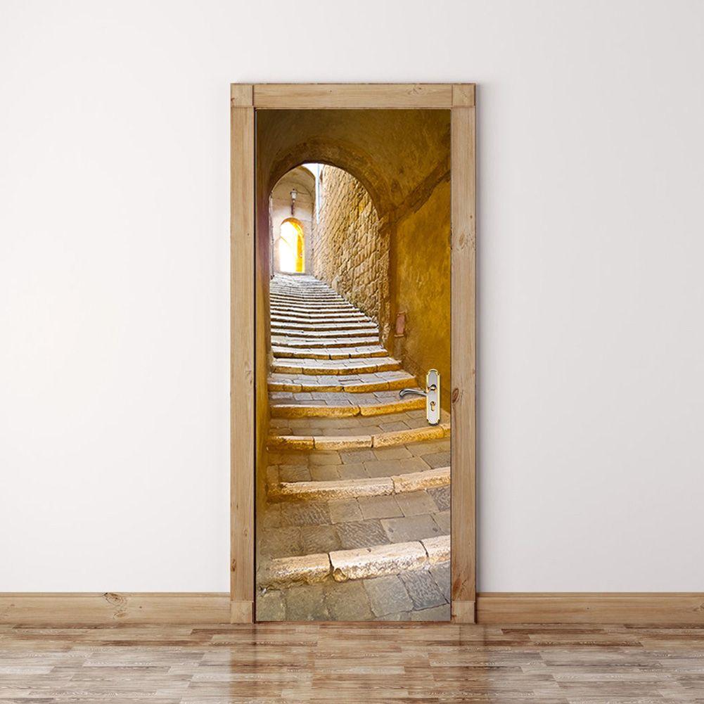 2 pièces/ensemble pierre étapes porte autocollants Style européen mur autocollant pour chambre salon décor affiche PVC étanche décalcomanie