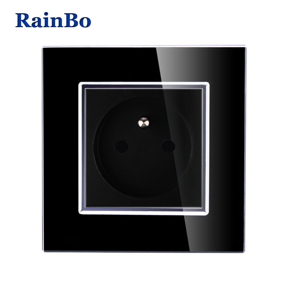 RainBo Brand Free Shipping Wall Power Socket New Outlet French Standard Black Crystal Glass Panel AC 110~250V 16A A18FB