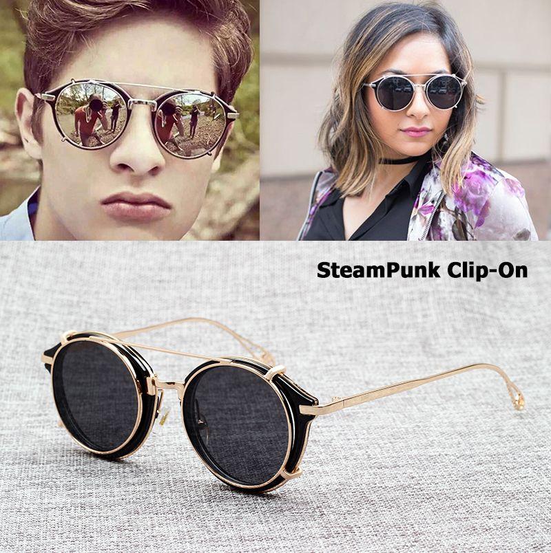 JackJad 2017 Mode SteamPunk Style Lentille Amovible lunettes de Soleil Clip Sur Vintage Brand Design Lunettes de Soleil Oculos De Sol S915-1