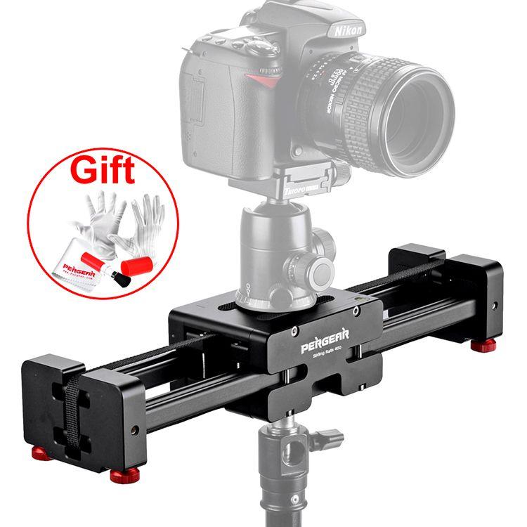 Pergear 3/8 Adjustable DSLR Video Camera Slider V2 Short 400mm for DSLR DV Camera Up to 8kg Dolly Stabilizer P0010554