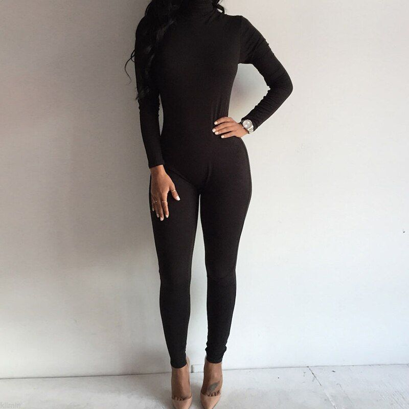 Women Fashion ladies casual Turtleneck Long Sleeve sexy solid skinny Jumpsuit Bodycon Rompers
