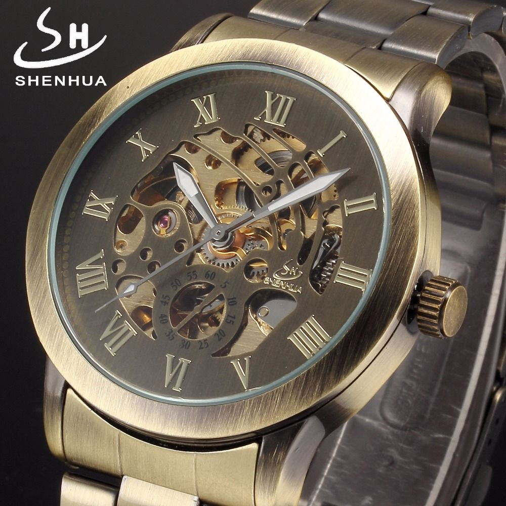 Shenhua Metal Power Automatic Skeleton Watch Men Mechanical Self Winding Men's Wristwatches relogio automatico masculino Watches