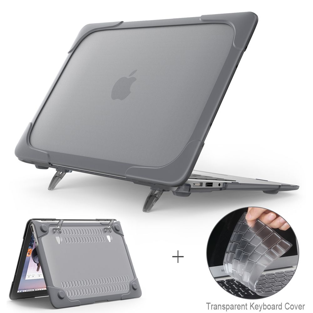 New <font><b>Shockproof</b></font> Outer cover Case Foldable Stand For Macbook Air Pro Retina 11 12 13 inch with Touch Bar A1466 A1502 A1706 A1708