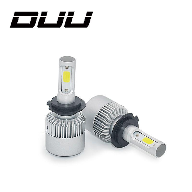 DUU Car Headlights Bulbs H7 H4 LED H8 H11 HB3 9005 HB4 9006 H1 H3 <font><b>9012</b></font> H13 9007 S2 Auto Headlamp Fog Light COB Chip 12-24V 72W