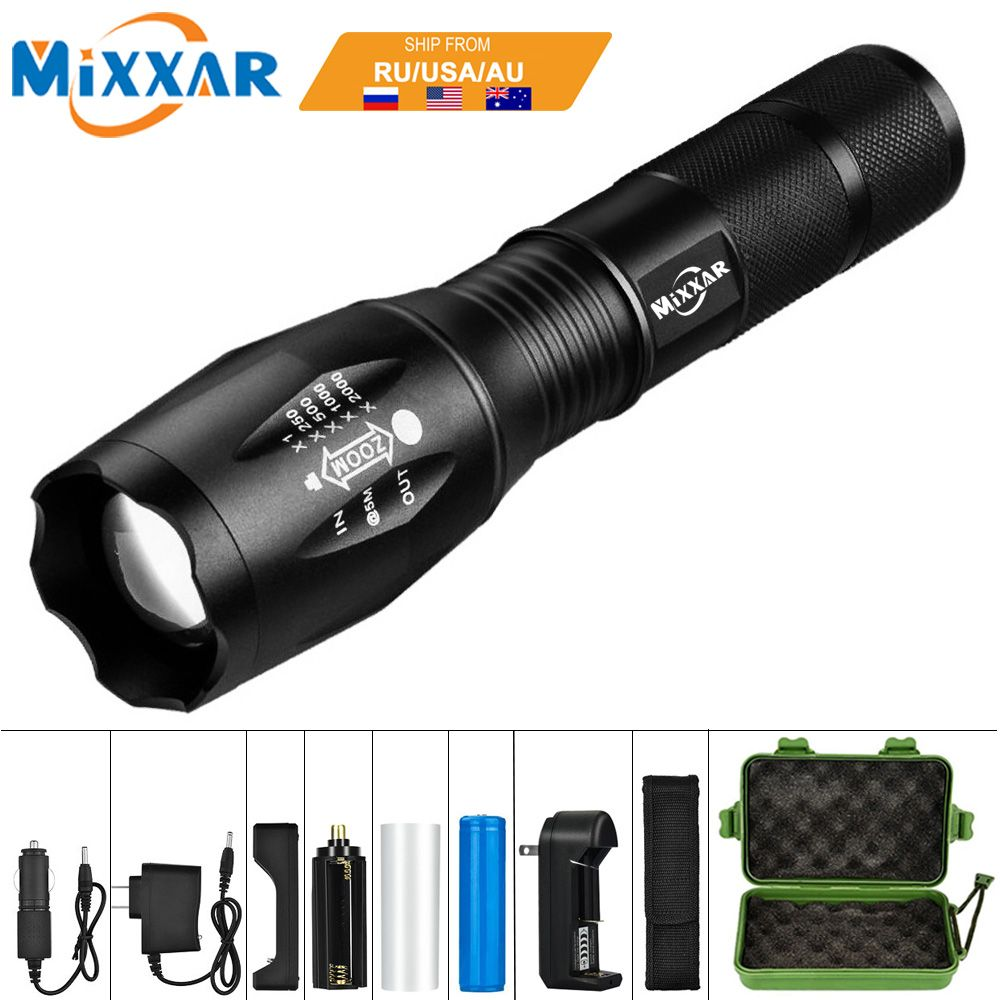 EZK20 T6 LED Handheld Tactical Flashlight 8000LM Zoomable Torch Light Camping Lamp for 18650 Rechargeable Battery or AAA