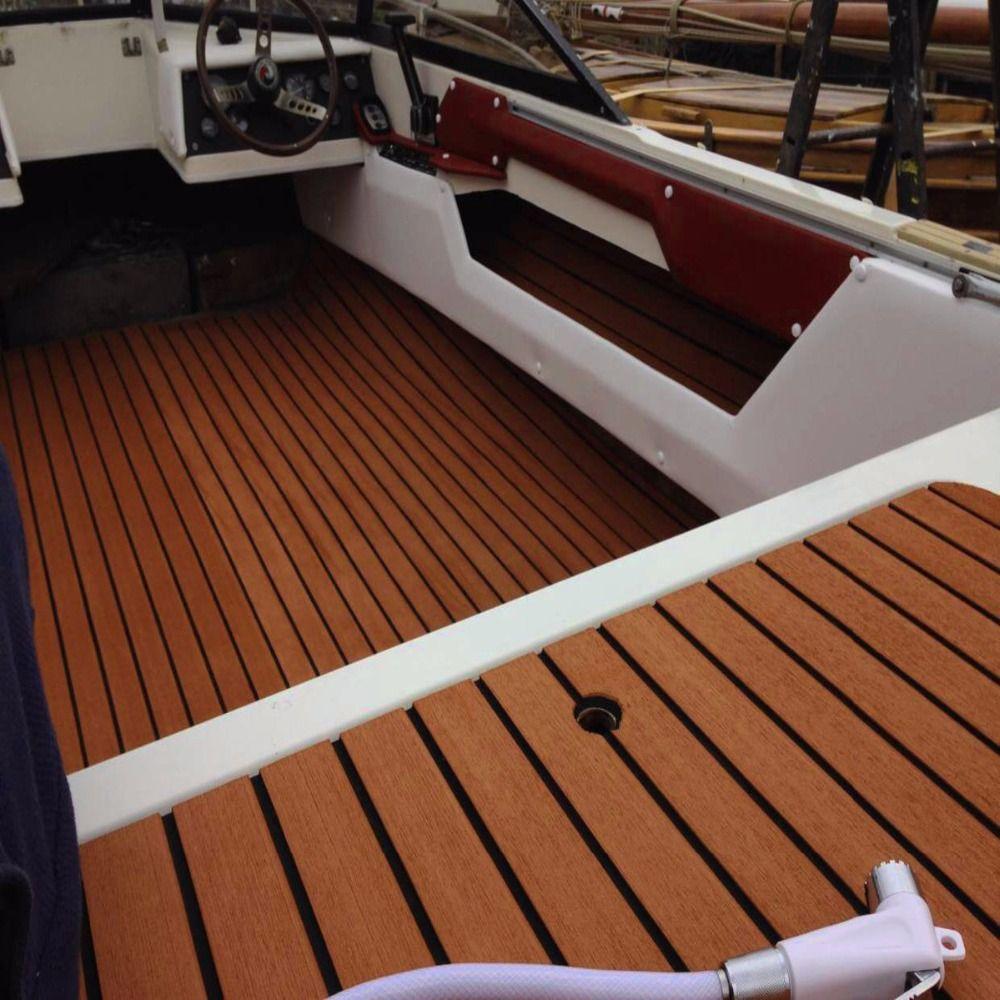 Dark Brown Self Adhesive EVA Foam Teak Sheet Dark Brown Boat Yacht Synthetic Decking Foam Floor Mat Strong Gule