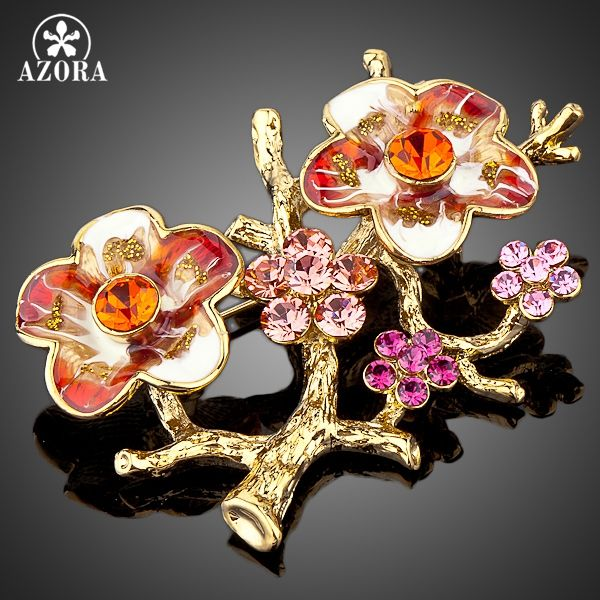 AZORA Gold Color Stellux Mutilcolour Austrian Crystal The Plum Blossom Branches Design Brooch TP0010