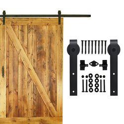 5-16 FT unique système de porte coulissante grange quincaillerie de porte en bois portes intérieures top monté rustique noir coulissante grange quincaillerie de porte