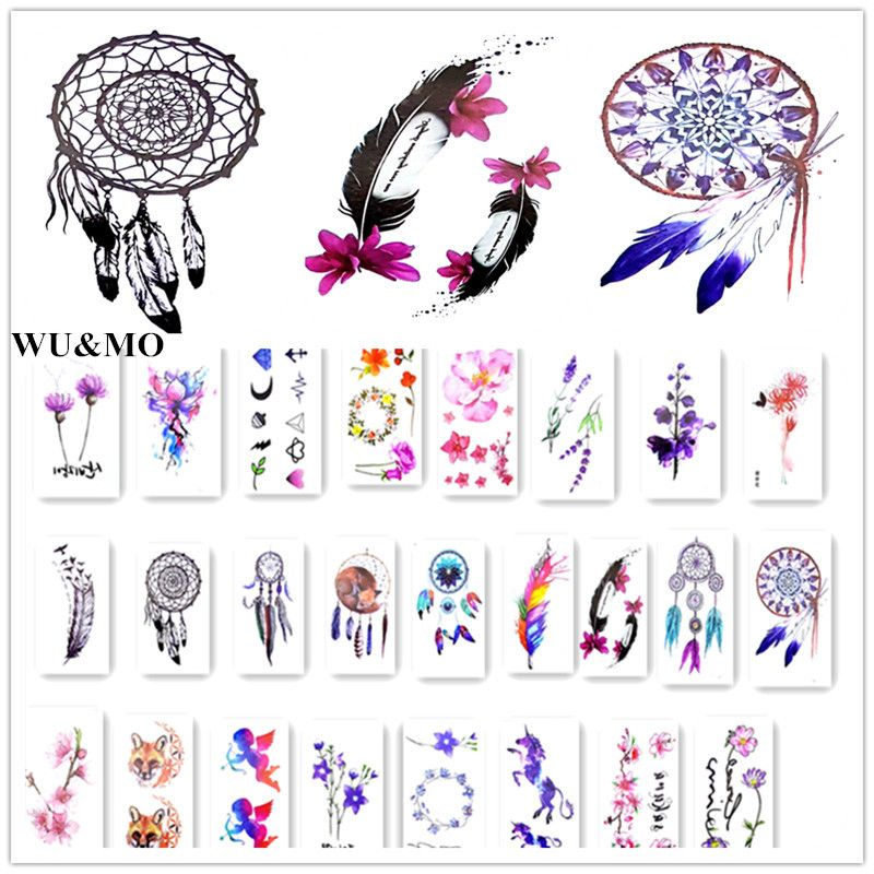 4 Colors Lovely Waterproof Temporary Tattoo Dreamcatcher Feather Tatoo Henna Fake Flash Tattoo Taty Tattoos