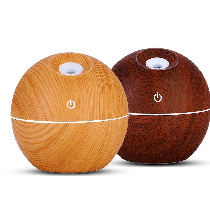 Diffuseur d'huile essentielle de Grain de bois USB 130 ml humidificateur à ultrasons diffuseur d'arôme domestique aromathérapie brumisateur avec LED
