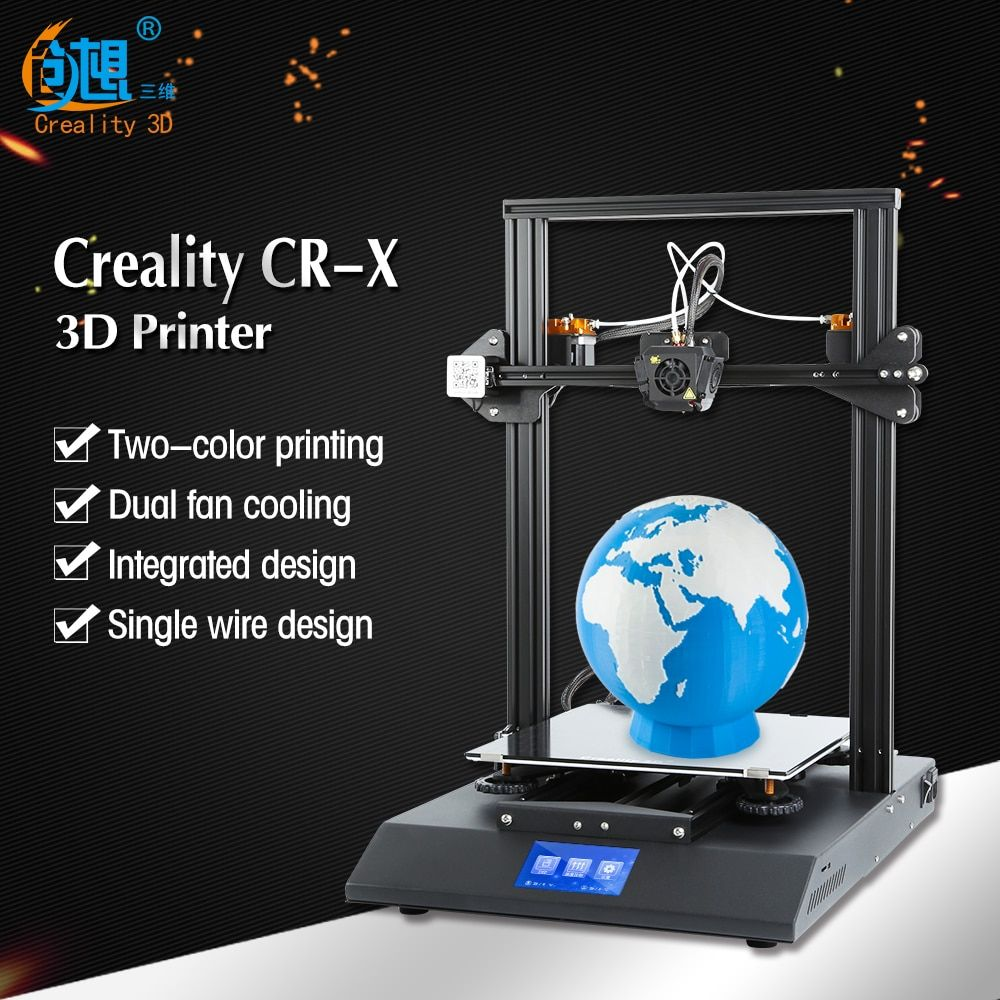 2018 CR-X 3D Printer Dual-color Nozzle DIY KIT Touch Screen Large Print size Dual Fan Cool Creality 3D CR-X n 2KG filament gift