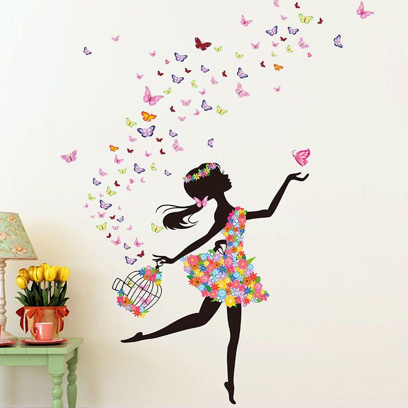 [SHIJUEHEZI] Mode Moderne Amovible Fille Papillons Stickers Muraux pour Chambre Salon Papier Peint Décoratif BRICOLAGE Art Mural