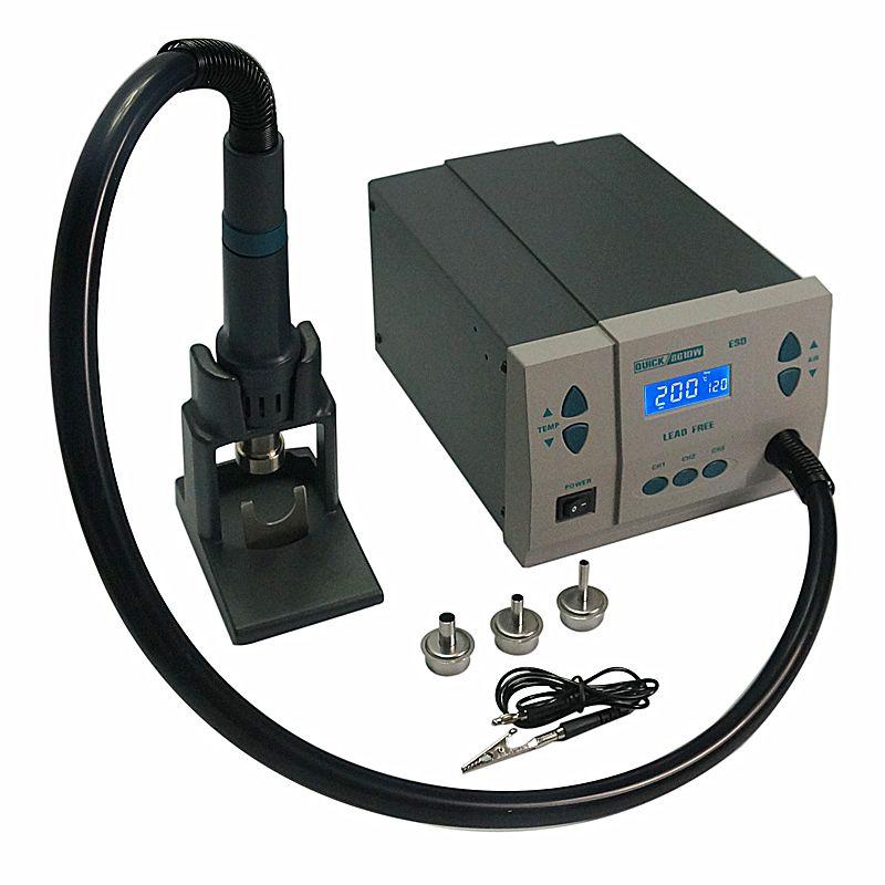 QUICK Spot 861DW Hot Air Rework station soldering machine with reballing flux stencil solder ball vacuum pen brush Tweezer