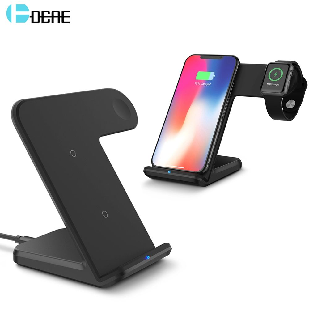 DCAE 2 in 1 Fast Charging Qi Wireless Charger for Apple watch 1 2 3 For iPhone XS Max XR X 8 Plus For Samsung S9 S8 note 9 8