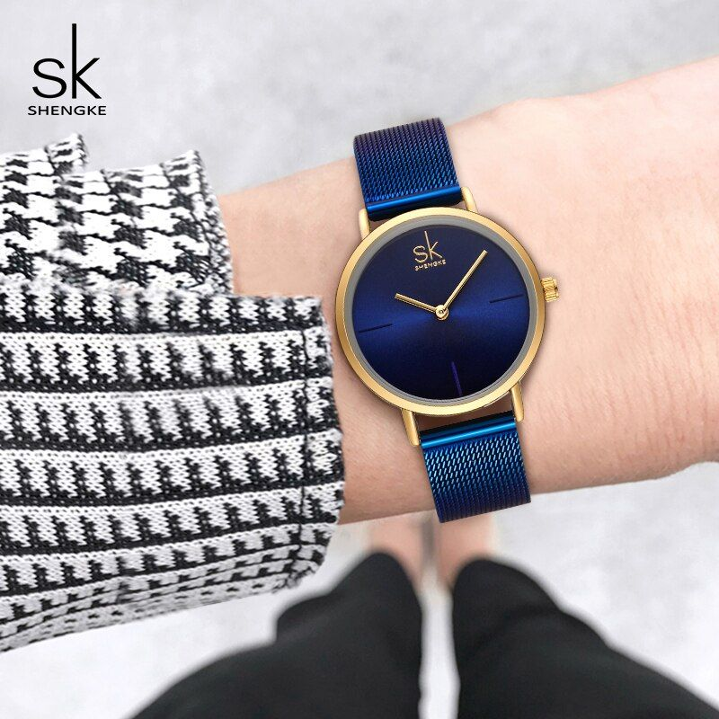 Shengke Wrist Watch Women Fashion Steel Quartz Watches Bracelet Clock Relogio Feminino 2018 SK Creative Ladies Watches #K0043