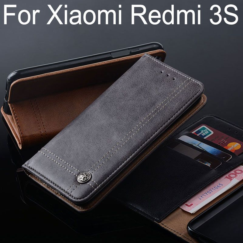 for Xiaomi redmi 3s case Luxury Leather Flip cover with Stand Card Slot Vintage Case for Xiaomi redmi 3s pro Without magnets
