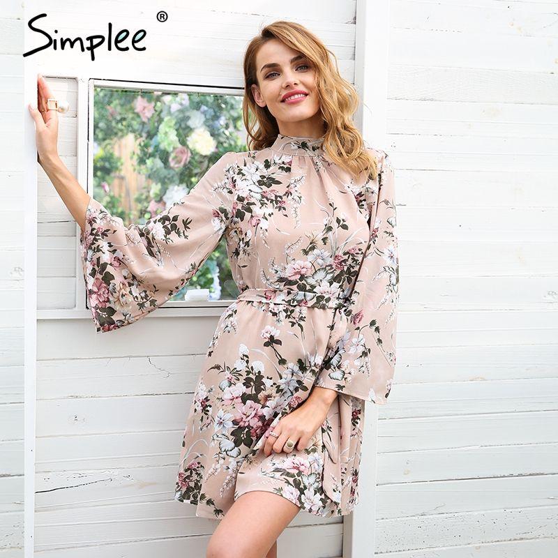 Simplee Backless lace up flower print chiffon dress women Flare sleeve summer dress Casual beach short dress femme 2018