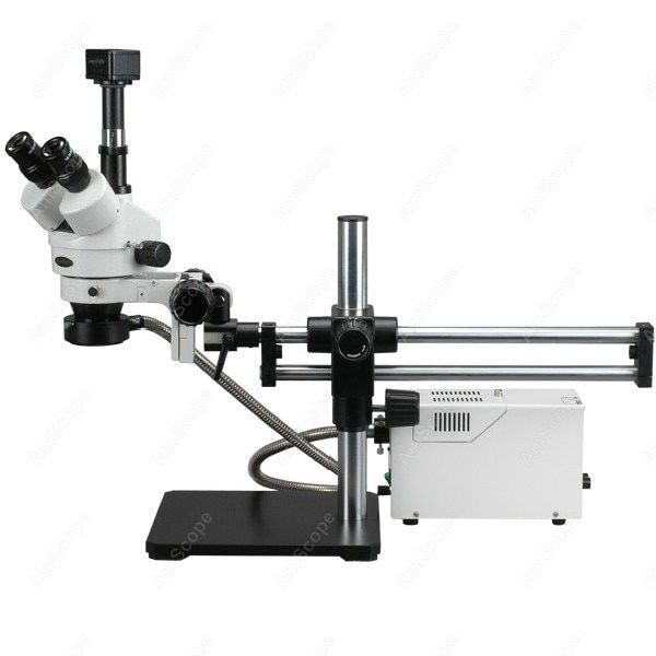 Trinocular Stereo Microscope--AmScope Supplies 3.5X-180X Fiber Optic Ball Bearing Trinocular Stereo Microscope with 5MP Camera