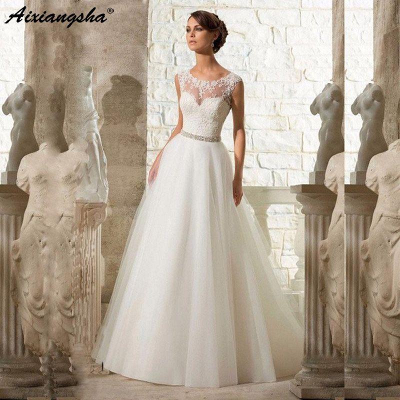 Pas cher a-ligne dentelle Appliques Robe de mariée 2019 Vintage grande taille Vestido De Novia avec perles bouton ceinture Sexy Robe de Mariage