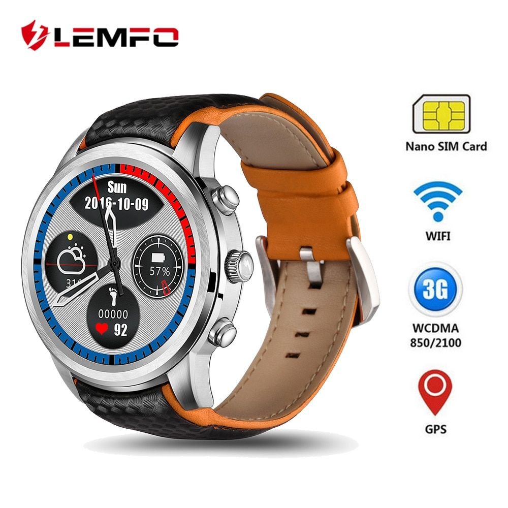 LEMFO LEM5 3G Smartwatch Android 5.1 GPS Mens Watches SIM Card Bluetooth Wifi Heart Rate Monitor Touchscreen Android Phones