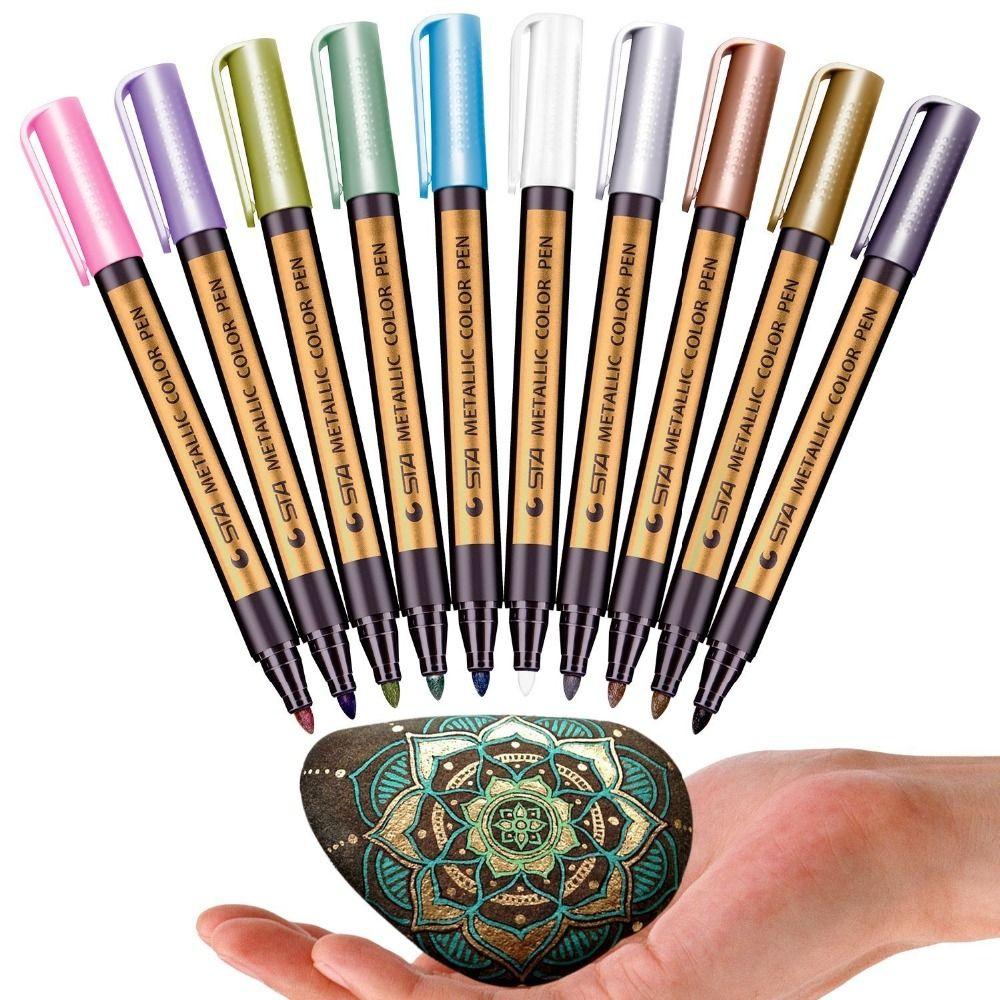 STA 10 couleurs marqueurs métalliques pour la peinture sur roche marqueurs de couleur métallique à pointe moyenne pour le Scrapbooking en plastique de verre céramique