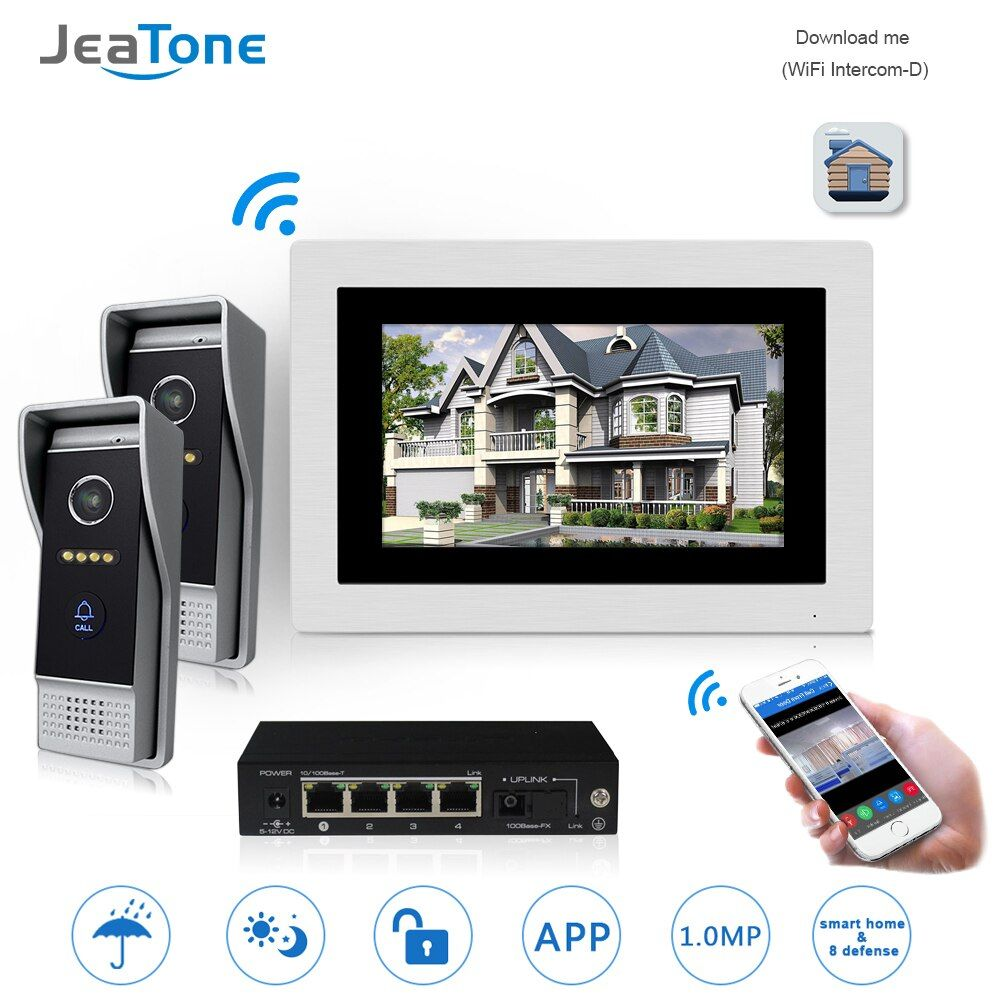 7'' WIFI IP Video Door Phone Intercom Wireless Door Bell Speaker Access Control System Touch Screen Motion Detection for 2 Doors
