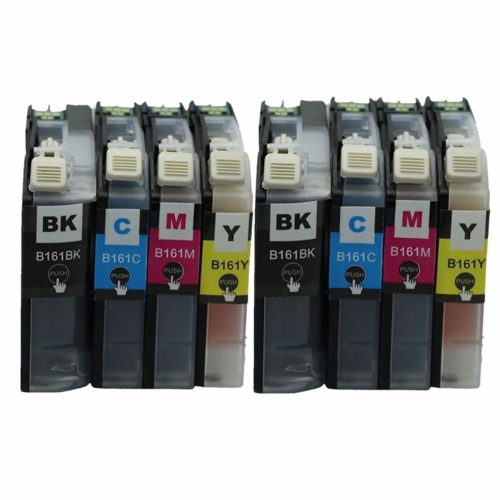 2 Set 8 Pack LC163 LC-163 LC 163 XL LC163XL Ink Inkjet Cartridges For Brother DCP-J152W DCPJ152W DCP J152W Printer