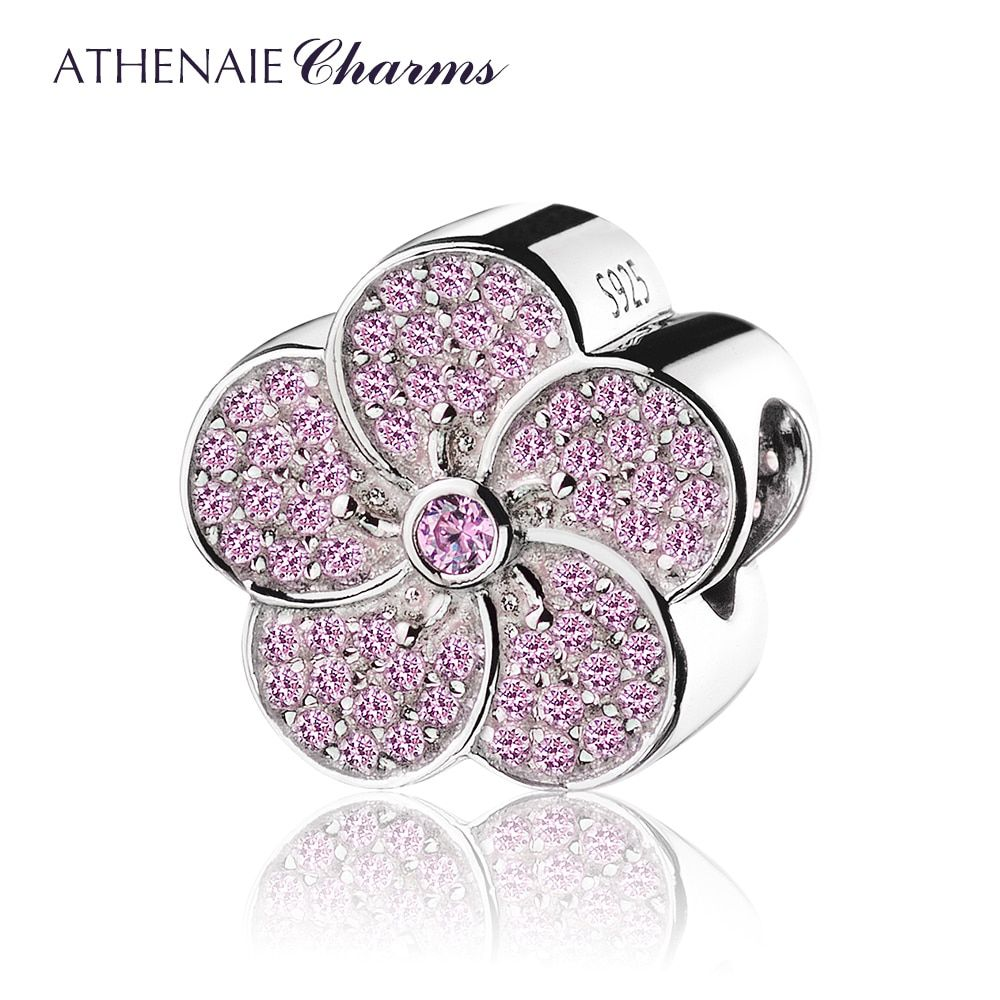 ATHENAIE Genuine 925 Sterling Silver with Pave Pink CZ Plum Blossom Charm Beads Fit All European Bracelets Necklace Color Pink