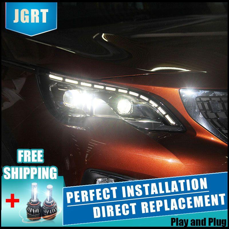 2PCS LED Headlights For Peugeot 3008 2017 Car Led Lights Double Xenon Lens Car Accessories Daytime Running Lights Fog Lights