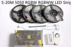 20 m LED Strip 5050 IP65 RGBW RGBWW Tahan Air 5 m 10 m 15 m pita + 18A RF Remote controller + Power adapter Kit Gratis pengiriman