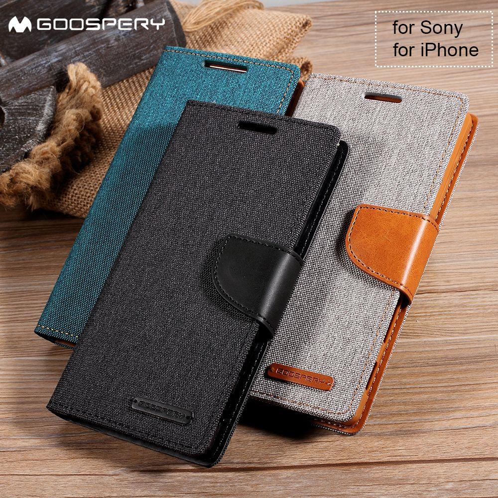 MERCURE GOOSPERY pour iPhone X 6 s 6 7 8 Plus 5 5S SE 4S 4 Cover Case Portefeuille En Cuir pour Sony Xperia XA Z5 Double Compact Premium X
