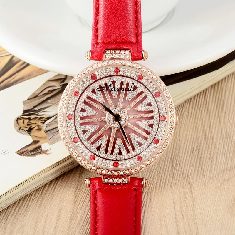 MASHALI GOOD LUCK Watch Twinkly Crystals Women watches Candy Colors Leather Hours Meter Rotating Dial Relojes Montre femme W061